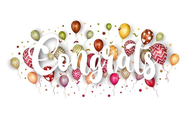 Herzlichen glückwunsch schriftzug mit ballon und konfetti.
