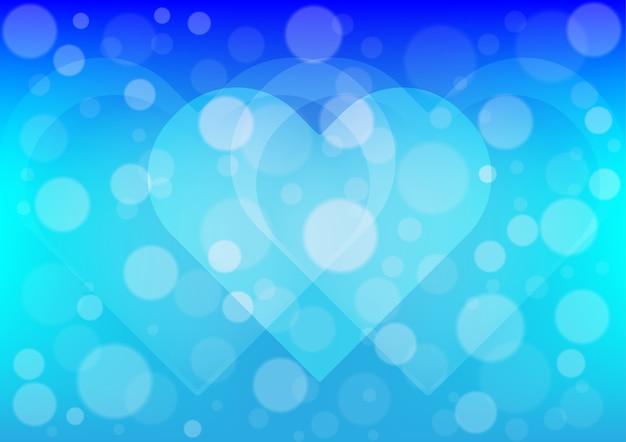 Herzlicht auf blauem farbhintergrund