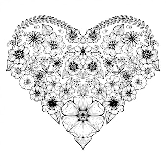 Herzmotiv der blume verziert