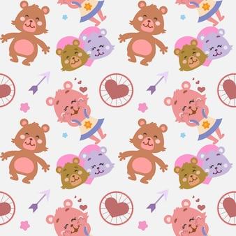 Herzmuster mit bärenpaar