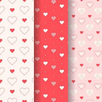 Herzmusterkollektion im flachen design