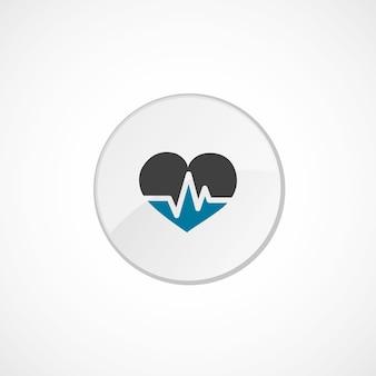 Herzpulssymbol 2 farbig, grau und blau, kreisabzeichen
