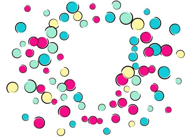 Herzpunktrahmen mit pop-art-konfettihintergrund. große farbige flecken, spiralen und kreise auf weiß. vektor-illustration. buntes kindisches spritzen für geburtstagsfeier. regenbogenherzpunktrahmen.