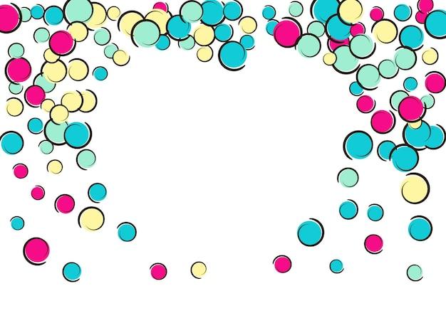 Herzpunktrahmen mit pop-art-konfettihintergrund. große farbige flecken, spiralen und kreise auf weiß. vektor-illustration. stilvoller kindersplatter für die geburtstagsfeier. regenbogenherzpunktrahmen.