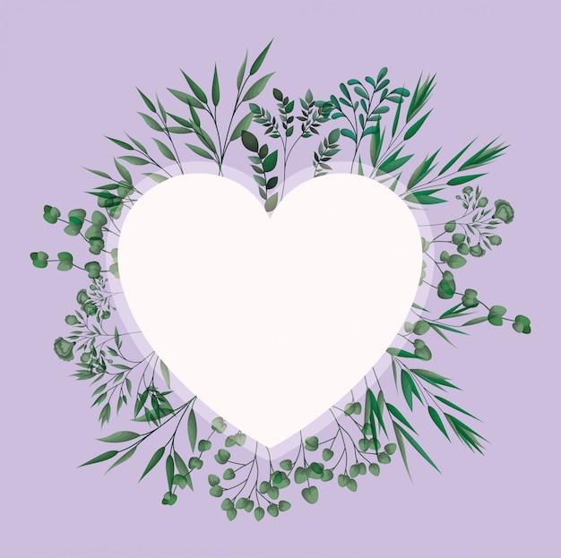 Herzrahmen mit lorbeerblättern