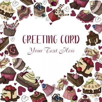 Herzrahmen von süßigkeiten, wüsten, kuchen, mit text