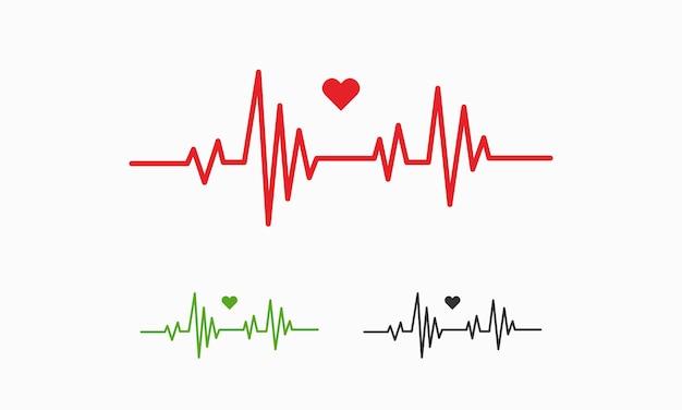 Herzschlag-linien-darstellung, pulskurve, ekg- oder ekg-kardio-diagrammsymbol für gesunde und medizinische analysevektorillustration