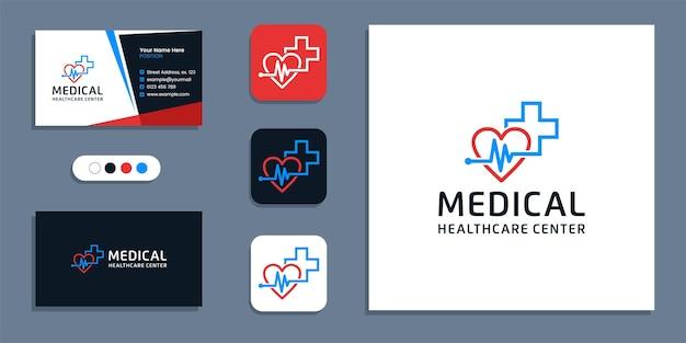 Herzschlag-pulssymbol, logo für medizinisches gesundheitswesen und inspirationsvorlage für das design von visitenkarten