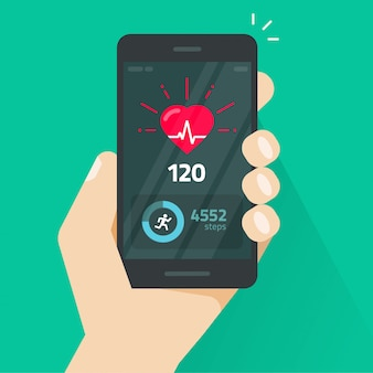 Herzschlagindikator auf flacher karikatur des handy- oder mobiltelefonschirmvektors