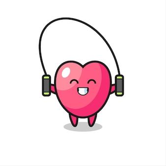 Herzsymbol-charakterkarikatur mit springseil, niedlichem stildesign für t-shirt, aufkleber, logoelement
