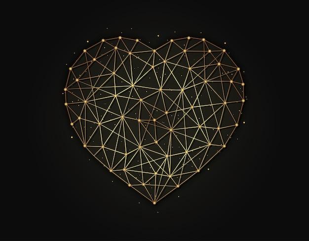 Herzsymbol golden auf dunklem hintergrund