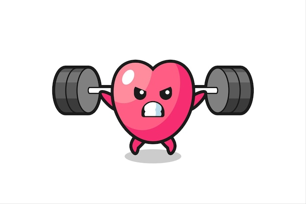 Herzsymbol-maskottchen-cartoon mit einer langhantel, süßes design für t-shirt, aufkleber, logo-element