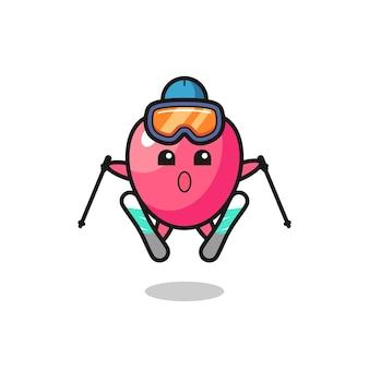 Herzsymbol-maskottchen-charakter als skispieler, süßes stildesign für t-shirt, aufkleber, logo-element