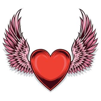 Herzsymbol mit flügeln