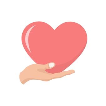 Herzvalentinsgrußkarte in einer hand