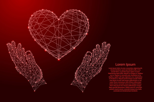 Herzzeichensymbol der liebe und zwei halten, die hände vor futuristischen polygonalen roten linien und leuchtenden sternen schützen.
