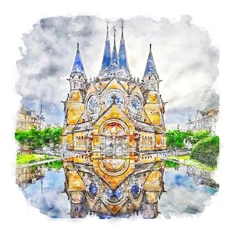 Hessen deutschland aquarellskizze handgezeichnete illustration