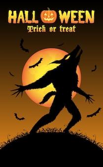 Heulender werwolf mit halloween-hintergrund
