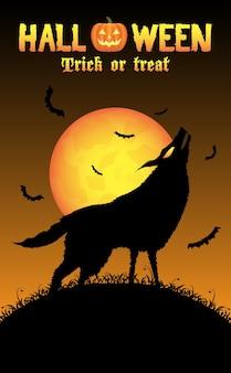 Heulender wolf mit halloween-hintergrund
