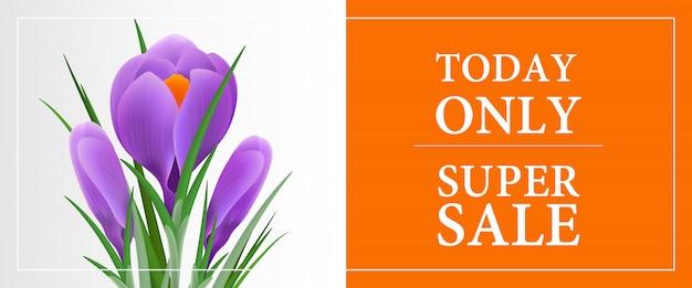 Heute nur super sale, 30% rabatt auf banner-vorlage mit violettem schneeglöckchen
