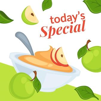 Heutiges special auf desserts mit apfelscheiben-verkauf
