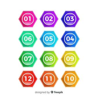 Hexagon-aufzählungszeichen