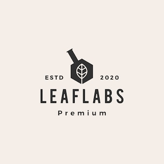 Hexagon blatt labor labs hipster vintage logo symbol illustration