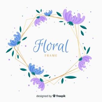 Hexagon floral frame hintergrund