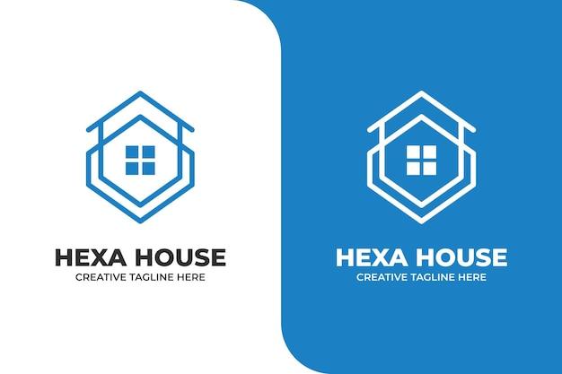 Hexagon-gebäude-haus-monoline-logo