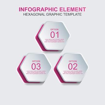 Hexagon-infografik-element-vektorvorlage mit drei schritten oder option