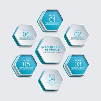 Hexagon-infografik-element-vektorvorlage mit sechs schritten oder option
