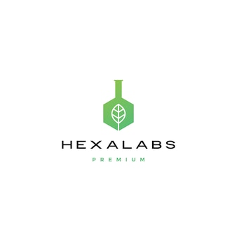 Hexagon leaf natur labor hexalabs logo-symbol