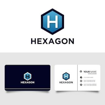 Hexagon letter anfängliches logo mit visitenkarten-entwurfsvorlage Premium Vektoren