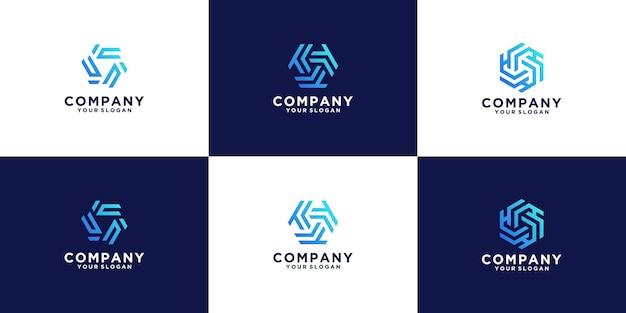 Hexagon-logo-kollektion mit verlaufsfarben