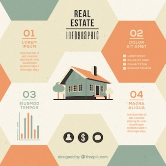 Hexagonal immobilien infografik mit haus in der flachen bauform