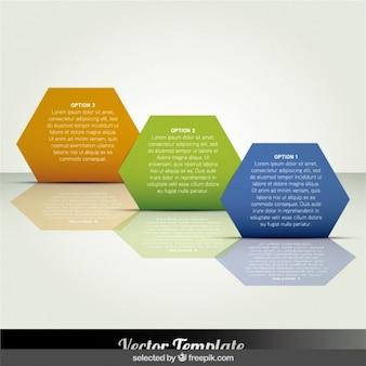 Hexagonal infografiken schritte in diagonaler lage