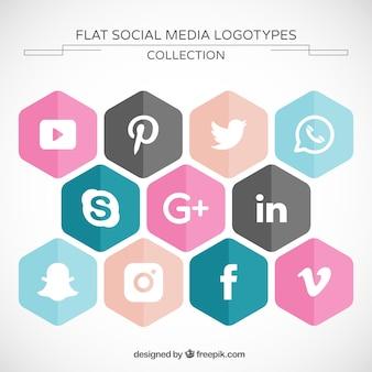 Hexagonal social media icons pack