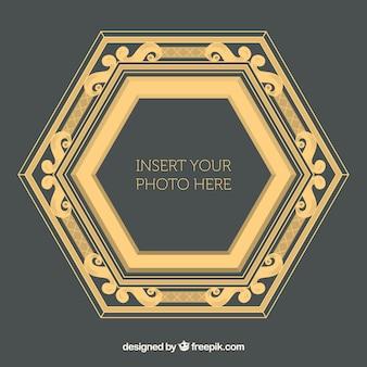 Hexagonal vintage photo frame