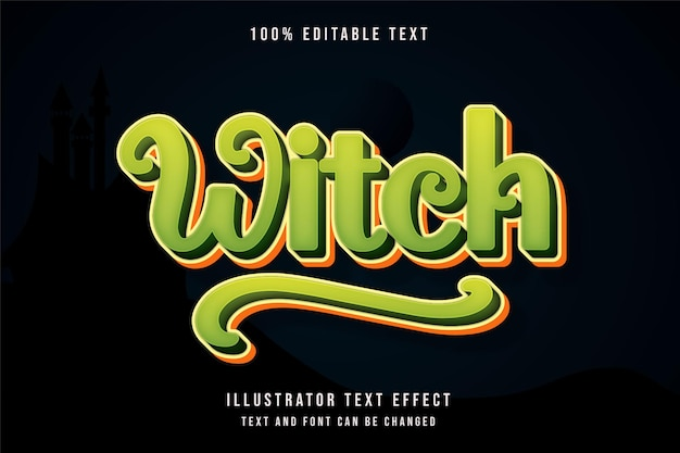 Hexe, 3d bearbeitbarer texteffekt grüne abstufung gelber textstil