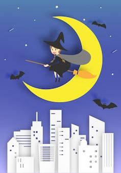 Hexe auf der besenpapier-kunstart mit himmel in der nacht für halloween-vektorillustration