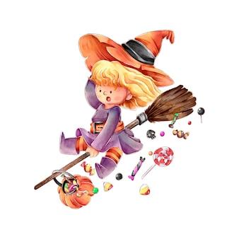 Hexe auf einem besen fröhliches halloween