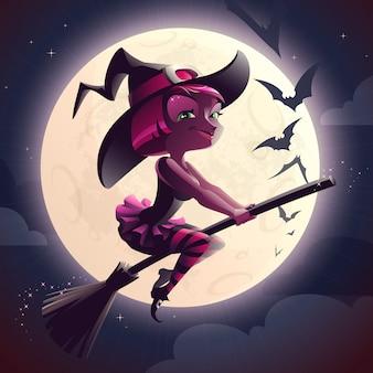 Hexe, die einen besen reitet