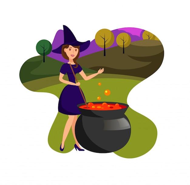 Hexe, die magische gebräu-flache farbillustration kocht