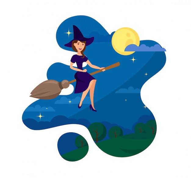 Hexe, die nachts flache farbillustration fliegt