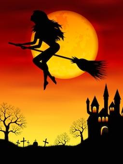 Hexe fliegt auf einem besenstiel