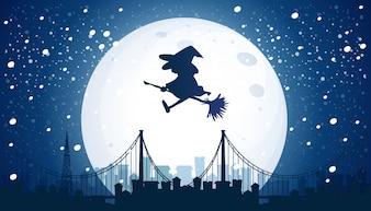 Hexe fliegt über den Mond