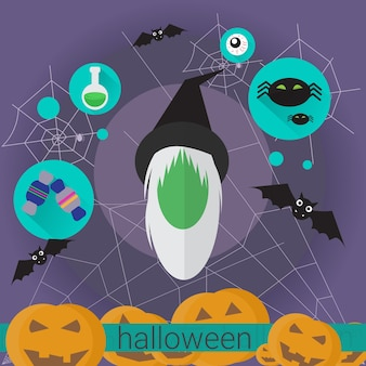 Hexe-frauen-zauberer flat icon halloween
