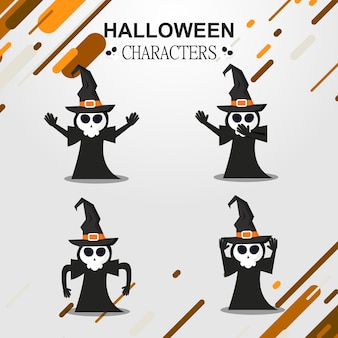 Hexe halloween charakter icon set