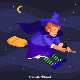 Hexe in blauem flug auf ihrem besen