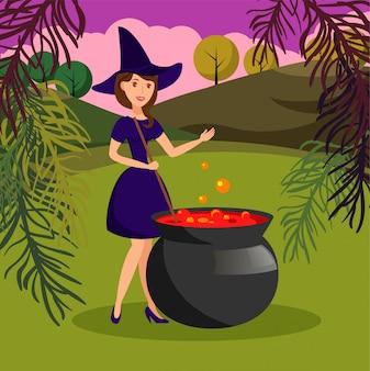 Hexe in der hölzernen vorbereitenden trank-vektor-illustration